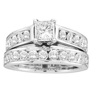14k White Gold 2ct TDW Princess and Round-cut Diamond Bridal Ring (H-I, I1-I2)