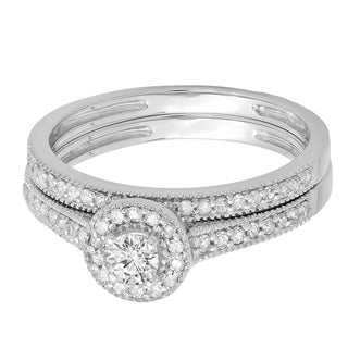 14k White Gold 1/2ct TDW Round Diamond Halo Bridal Ring Set (H-I, I1-I2)