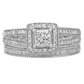14k White Gold 1ct TDW Princess and Round-cut Diamond Split Shank Halo Bridal Ring Set (H-I, I1-I2)