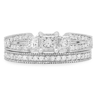 14k White Gold 1ct TDW Princess and Round-cut 3-stone Diamond Bridal Ring Set (H-I, I1-I2)
