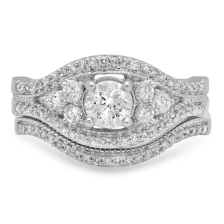 14k White Gold 1 1/10ct TDW Round-cut Diamond Bridal Ring Set (I-J, I1-I2)