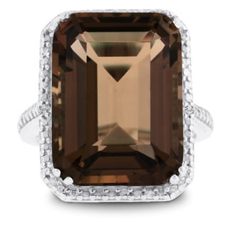 Sterling Silver 11ct Emerald-cut Smoky Quartz Diamond Accent Ring
