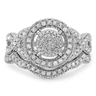 Sterling Silver 5/8ct TDW Round Diamond Micropave Swirl Split Shank Bridal Ring Set (I-J ,I2-I3)