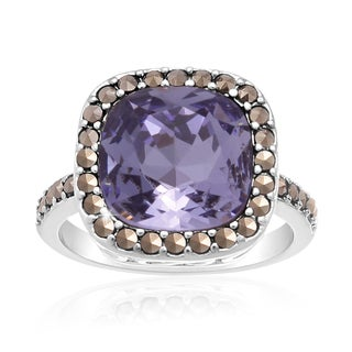 Platinum Overlay 4ct Cushion-cut Crystal Blue Tanzanite and Marcasite Ring