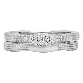 10k White Gold 1/3ct TDW Round and Princess Diamond 5-stone Bridal Ring Set (H-I, I1-I2)