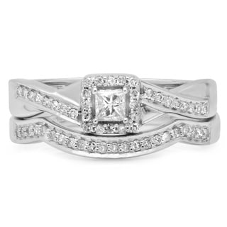 10k White Gold 2/5ct TDW Princess and Round Diamond Halo Split Shank Bridal Ring Set (H-I, I1-I2)