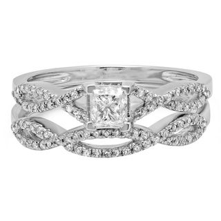 14k White Gold 3/4ct TDW Princess and Round Diamond Swirl Bridal Ring Set (H-I, I1-I2)