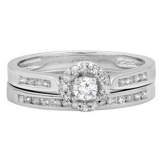14k White Gold 1/2ct TDW Diamond Halo Bridal Ring Set (H-I, I1-I2)