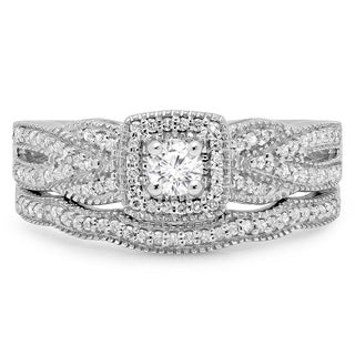 10k White Gold 1/2ct TDW Round-cut Diamond Halo Bridal Set (H-I, I1-I2)
