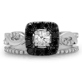 14k White Gold 1ct TDW Round Black and White Diamond Swirl Halo Bridal Ring Set (H-I, I1-I2)