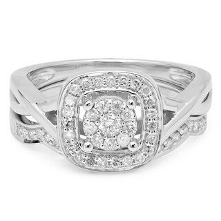 14k White Gold 1/2ct TDW Round Diamond Split Shank Bridal Ring Set (I-J, I1-I2)