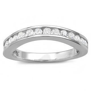 18k White Gold 3/4ct TDW Round Diamond Curved Guard Matching Bridal Wedding Band (H-I, I1-I2)