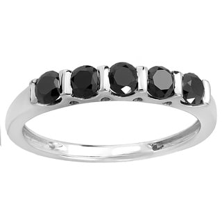 Sterling Silver 3/4ct TDW Round Black Diamond Stackable Anniversary Band Ring