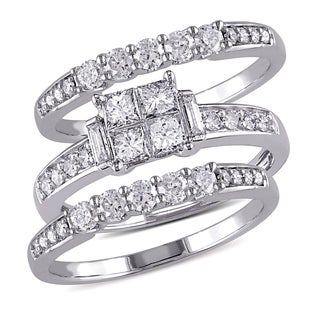 Miadora 10k White Gold 1 1/4ct TDW Diamond Bridal Ring set (G-H,I1-I2)