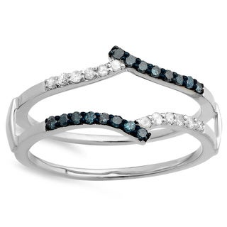 14k White Gold 1/4ct TDW Round White and Blue Diamond Anniversary Band Guard Double Ring