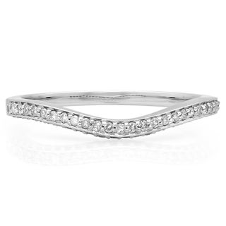 14k White Gold 1/5ct TDW Round-cut Diamond Stackable Anniversary Contour Guard Ring (H-I, I1-I2)