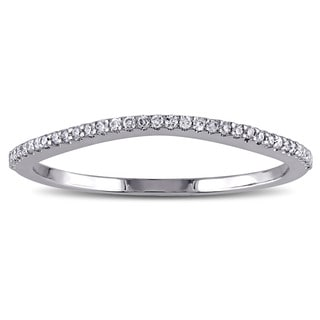 Miadora 10k White Gold 1/10ct TDW Diamond Wedding Band (G-H, I2-I3)