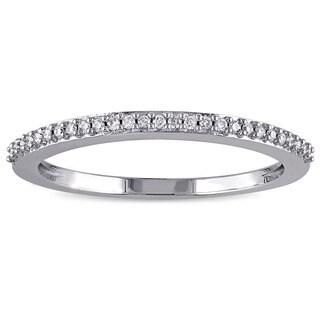 Miadora 14k White Gold 1/10ct TDW Diamond Wedding Band (G-H, I1-I2)