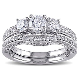 Miadora Signature Collection 14k White Gold 1 1/8ct TDW Diamond Bridal Ring Set (G-H,I2-I3)