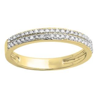 10k White Gold 1/5ct TDW Round Diamond Double-row Anniversary Band (I-J, I1-I2)