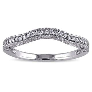Miadora 14k White Gold 1/8ct TDW Diamond Wedding Band (G-H, I2-I3)
