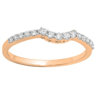 14k White Gold 1/3ct TDW Round Diamond Contour Stackable Anniversary Guard Ring (I-J, I2-I3)
