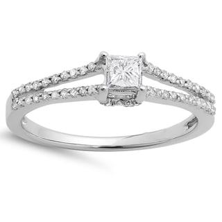 14k White Gold 1/2ct TDW Princess and Round Diamond Solitaire Split Shank Engagement Ring (H-I, I1-I2)