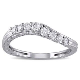 Miadora 14k White Gold 1/3ct TDW Diamond Wedding Band (G-H, I2-I3)