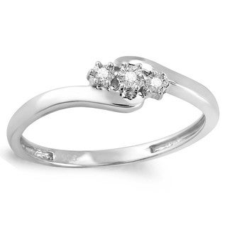 Sterling Silver Round-cut Diamond Accent Engagement Swirl 3-stone Ring