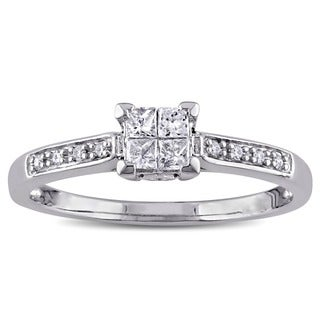 Miadora 10k White Gold 1/4ct TDW Princess Cut Diamond Engagement Ring (G-H, I2-I3)