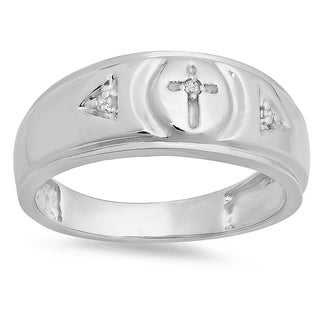 Sterling Silver Men's Round-cut Diamond Accent 3-stone Cross Wedding Band (I-J, I2-I3)