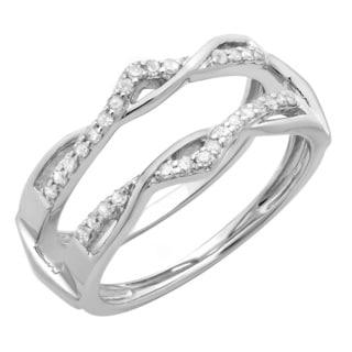 14k White Gold 1/4ct TDW Round Diamond Anniversary Band Enhancer Guard Double Ring (H-I, I1-I2)