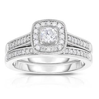 Eloquence 10k White Gold 1/2ct TDW Diamond Halo Bridal Ring Set (H-I, I2-I3)