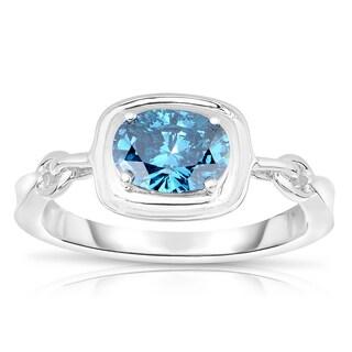 Eloquence 14k White Gold 1ct TDW Blue Diamond Ring (Blue, I1-I2)