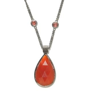 Sterling Silver Red Agate and Mother of Pearl Doublet Enhancer Station 36-inch Necklace