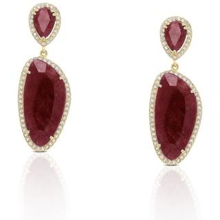 Dolce Giavonna Sterling Silver Gemstone Dangle Earrings