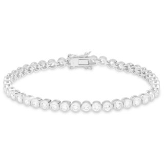 Dolce Giavonna Sterling Silver Cubic Zirconia Circle Link Bracelet