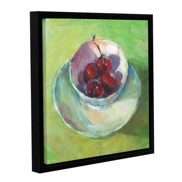 ArtWall Svetlana Novikova ' Cherries In A Cup Impressionist Painting ' Gallery-Wrapped Floater-Framed Canvas