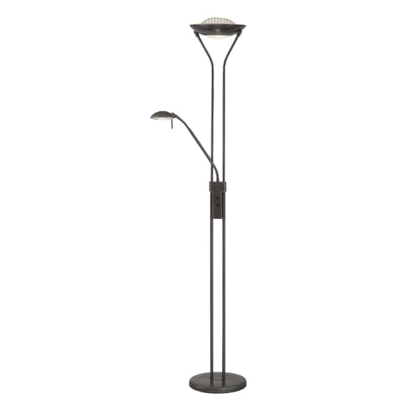 Lite Source Duality Fluorescent Torchiere/Reading Lamp, Dark Bronze