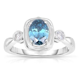 Eloquence 14k White Gold 1 1/10ct TDW Blue Diamond Ring (Blue, I1-I2)