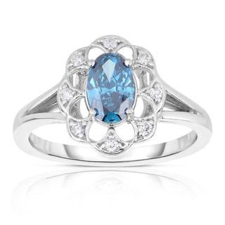 Eloquence 14k White Gold 4/5ct TDW Blue Diamond Ring (Blue, I1-I2)
