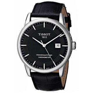 Tissot Men's T0864081605100 'Powermatic 80' Automatic Black Leather Watch