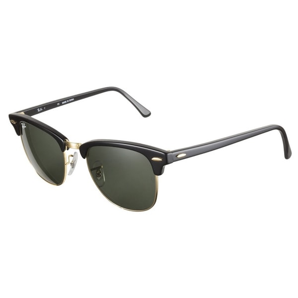 Ray-Ban RB3016 Clubmaster 51 Ebony Natural Green Lenses Sunglasses