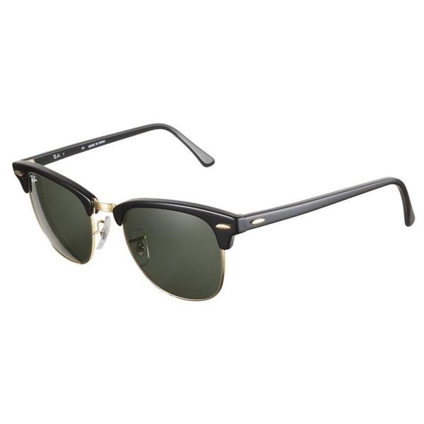 Ray-Ban RB3016 Clubmaster 51 Ebony Natural Green Lenses Sunglasses