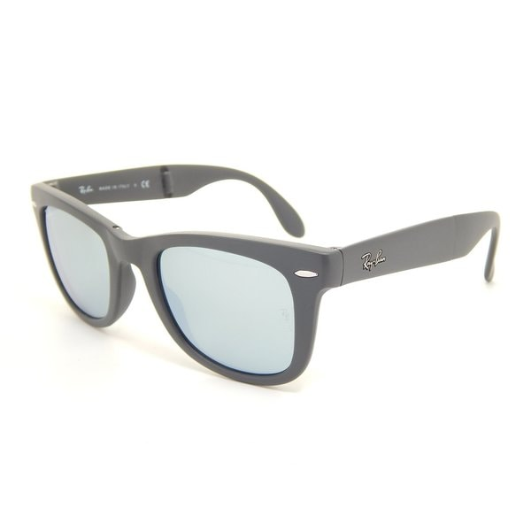 Ray-Ban Folding RB4105 Matte Black Grey Mirrored Wayfarer Sunglasses