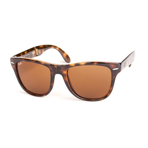 Ray-Ban RB4105 710 Tortoise 50 Brown Classic Lens Folding Wayfarer Sunglasses