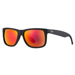 Ray-Ban New Authentic Justin RB4165 Rubber Black Red Mirror Lens Sunglasses