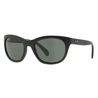 Ray-Ban Matte Black Green Lenses Cateye Sunglasses