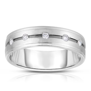 Eloquence 14k White Gold 1/6ct TDW Diamond Mens Wedding Band (H-I, I1-I2)