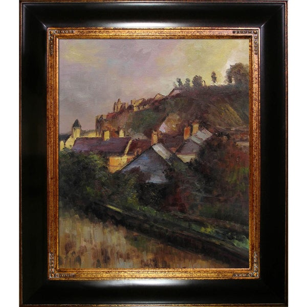 Edouard Degas 'Houses at the Foot of a Cliff' (Saint-Valery-sur-Somme) Hand Painted Framed Canvas Art